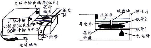 (六)两种打点计时器 (1)电磁打点计时器:它是使用交流电源的一种计时仪器。当接通4V~6V低压交流电源时,在线圈和永久磁铁的作用下,振片便上下振动起来,位于振片一端的振针就跟着上下振动而打点,这时,如果纸带运动,振针就在纸带上打出一系列点,当交流电源频率为50Hz时,它每隔0.