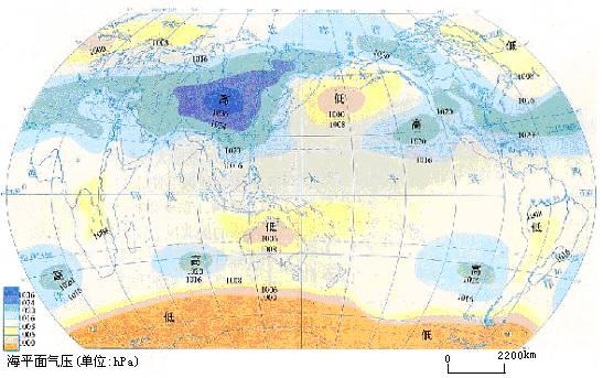 七月海平面等压线的分布图图片