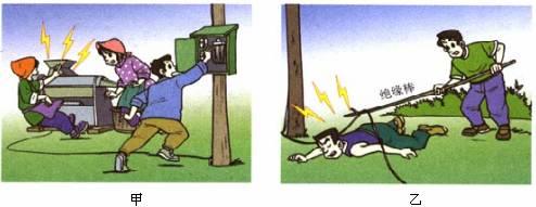 这时电流通过人体,造成跨步电压触电.