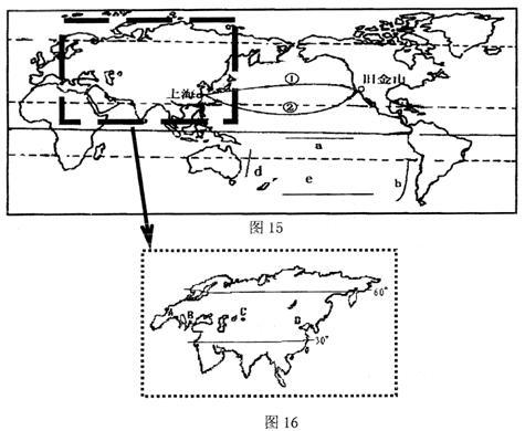 图12为气压带和风带季节移动示意图,图13为世界海陆分布图的局部.图片