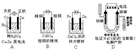 铜锌原电池工作时,电子沿外电路从铜电极流向锌电极